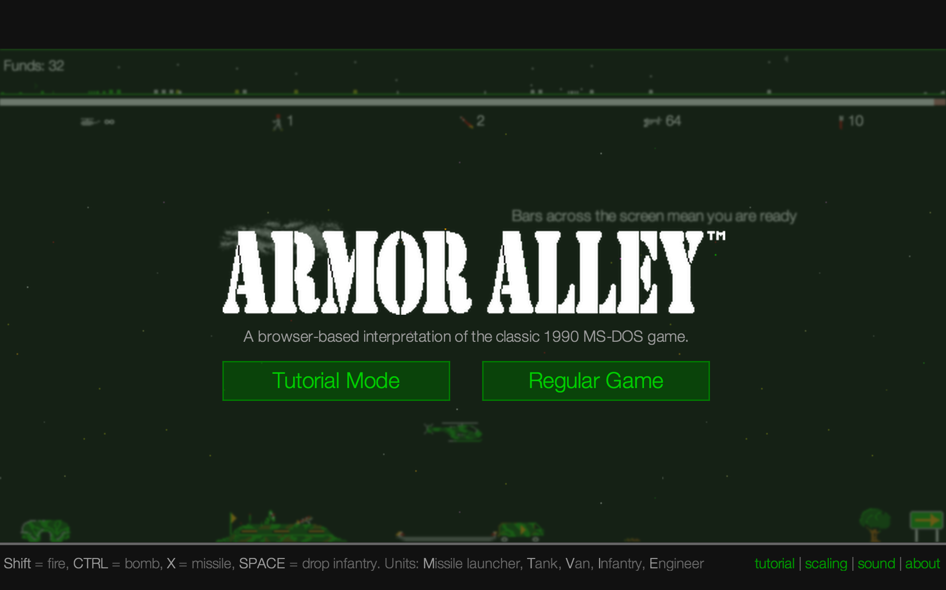 Armor Alley: Web Prototype: Screenshot (scaled mode)